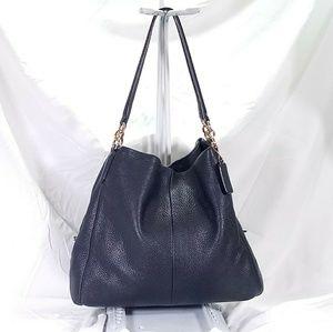 Coach Navy Phoebe Leather Shoulder Bag